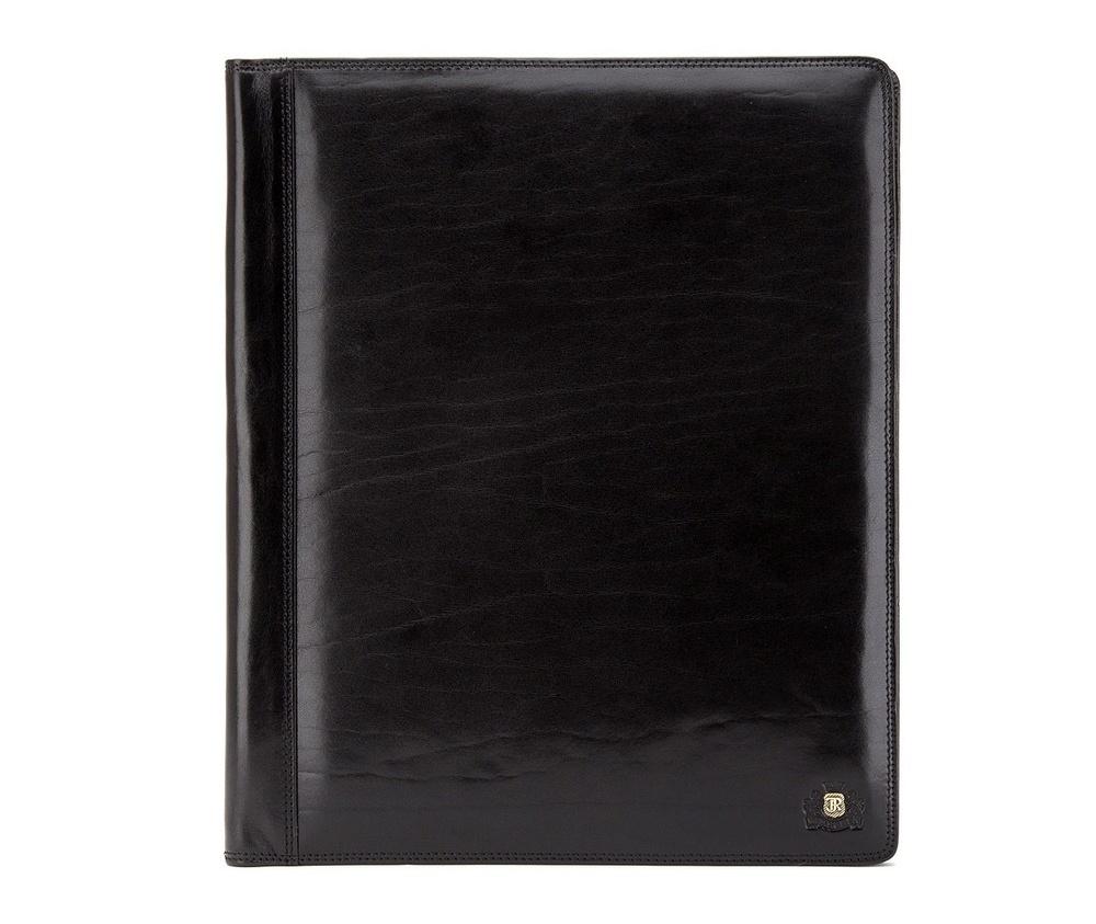 Деловая папкаДеловая папка из коллекции Da Vinci.&#13;<br>Особенности модели: отделение формата A-4, 2 отделения формата A-4, крепление для ручек, 7 отделений для кредитных карт, 3 кармана, в том числе один прозрачный.<br><br>секс: унисекс<br>Цвет: черный<br>материал:: натуральная кожа<br>высота (см):: 31.5<br>ширина (см):: 26<br>глубина (см):: 2