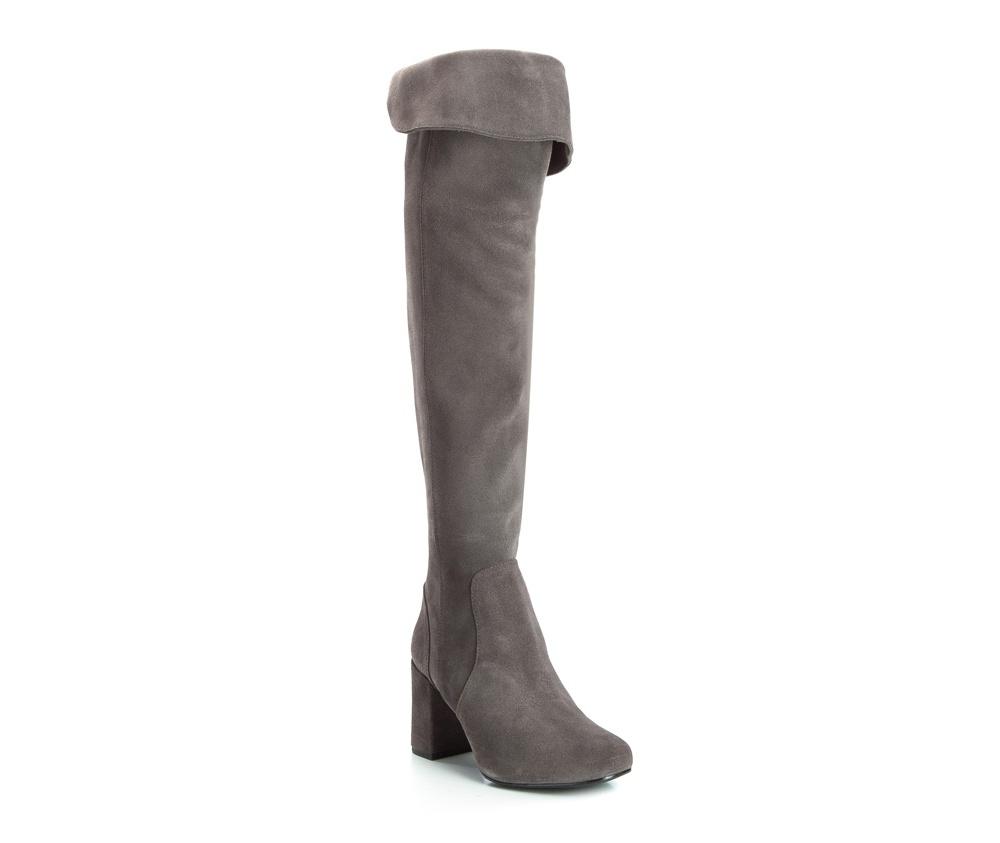 Обувь женскаяЖенские сапоги, изготовленные по технологии Hand Made выполнены полностью из натуральной итальянской кожи наивысшего качества. Подошва полностью сделана из качественного синтетического материала. Классическая модель сапог с высоким, но очень стабильным каблуком украсит ногу каждой женщины.<br><br>секс: женщина<br>Цвет: серый<br>Размер EU: 35<br>материал:: Натуральная кожа<br>примерная высота каблука (см):: 7,5<br>примерная высота голенища (см): 46