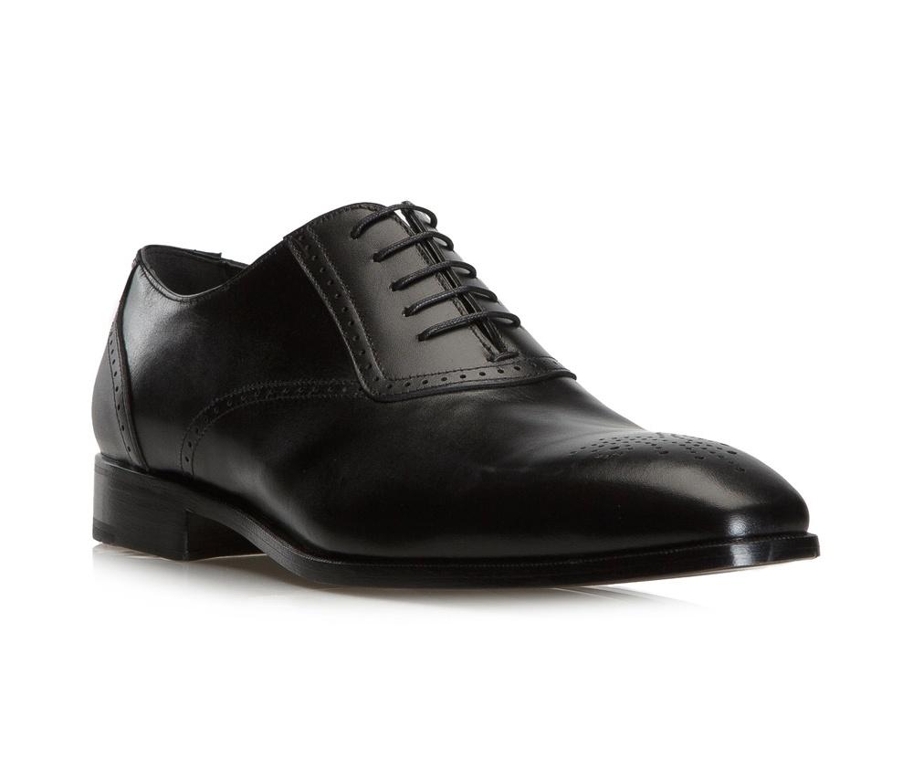 Обувь мужскаяТуфли мужские типа Оксфорды. Изготовленные по технологии Hand Made выполнены полностью из натуральной итальянской кожи наивысшего качества. Подошва полностью сделана из качественного синтетического материала. Отличительной чертой этой линии от других моделей, является серебряный значок с логотипом WITTCHEN, расположенный на подошве. Эта модель идеально подходит для тех кому нравится классика и функциональность.<br><br>секс: мужчина<br>Цвет: черный<br>Размер EU: 45.5<br>материал:: Натуральная кожа<br>примерная высота каблука (см):: 3