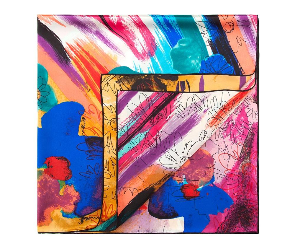 Платок женскийШелковый платок для женщин, сделан чрезвычайно трудоемкой техникой прокатки края. Имеет знак качества материала KING SILK. Яркий, модный, шелковый шарф к тому же очень приятный на ощупь. Такой шарф никогда не будет лишним в гардеробе и придаст образу совершенно новый вид. Он идеально подойдет для стильной леди.<br><br>секс: женщина<br>Цвет: разноцветный<br>материал:: Шелк<br>высота (см):: 95<br>ширина (см):: 100