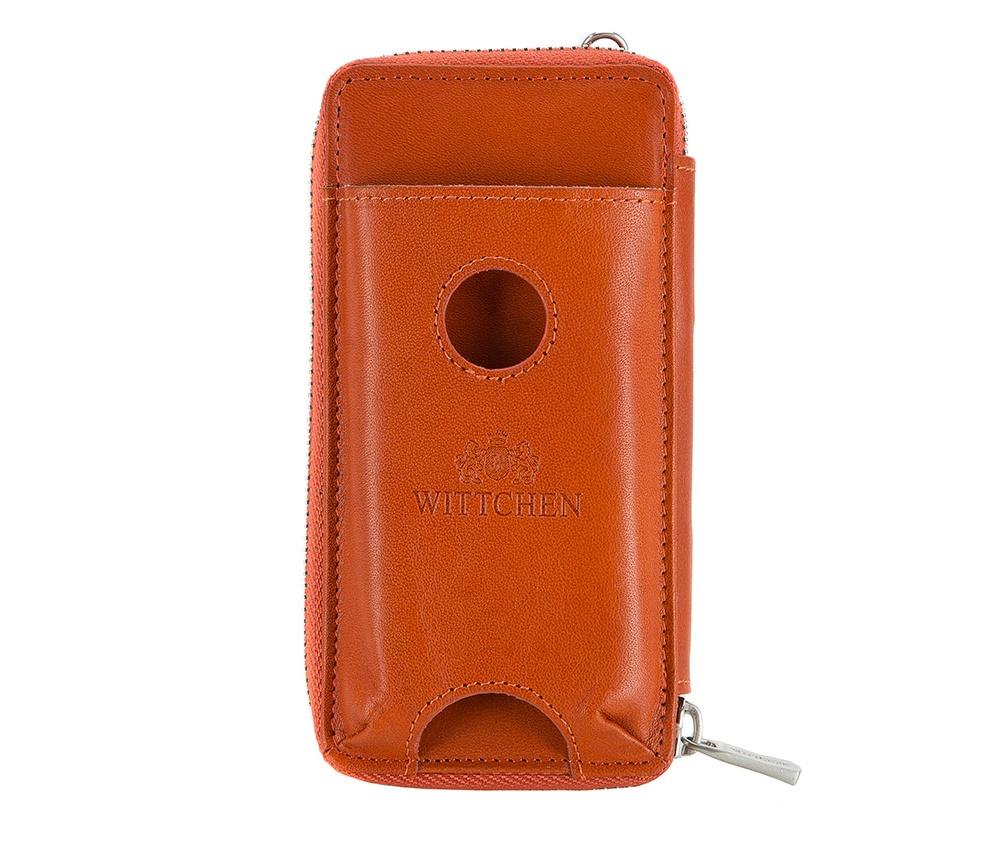 Чехол для телефона и документовФутляр для телефона и документов, изготовлен из натуральной телячьей кожи высочайшего качества. Фирменный знак выполнен тиснения на коже. Упакован в фирменную коробку с логотипом WITTCHEN.    Особенности модели:   отделение для мелочи на молнии; 5 слотов для кредитных карт; 2 отделения.    Дополнительно:   отделение для мобильного телефона размеров 5,8см x 1 см x 11,5 см; съемная ручка.<br><br>секс: женщина<br>Цвет: оранжевый<br>высота (см):: 15<br>ширина (см):: 7