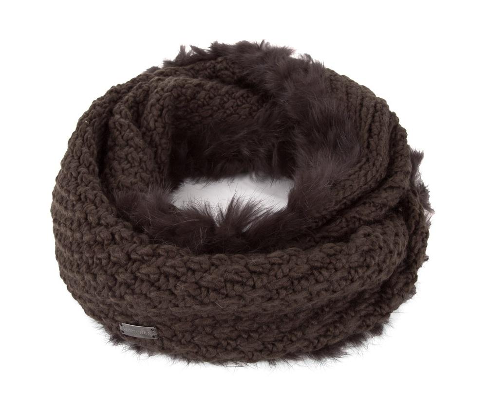 Шарф женскийШарф-снуд выполнен из материалов высокого качества. Отделка из натурального кроличьего меха  делает модель очень теплой и стильной.<br><br>секс: женщина<br>Цвет: коричневый<br>материал:: Акрил<br>высота (см):: 20