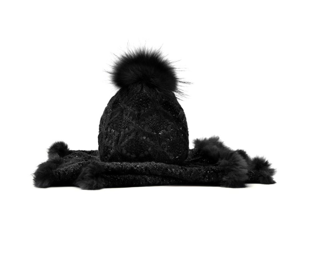 Комплект шапка + шарфКомплект шапка + шарф<br><br>секс: женщина<br>Цвет: черный<br>материал:: Акрил<br>ширина (см):: 43