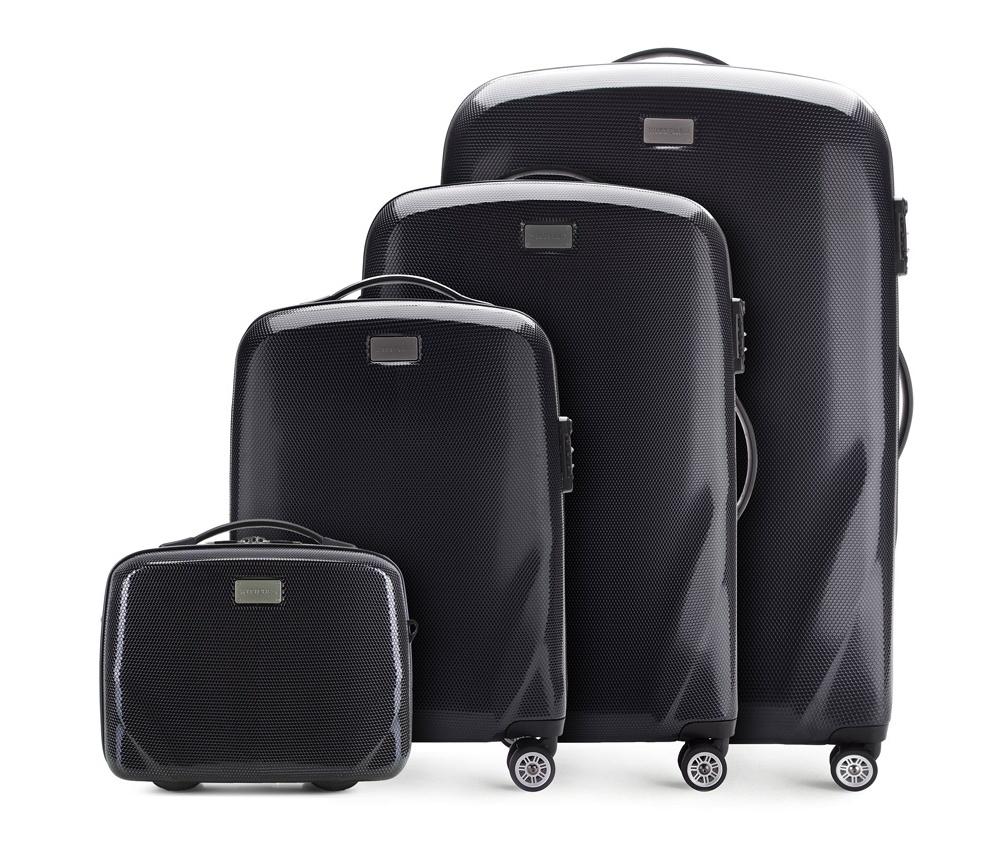 Комплект чемодановКомплект чемоданов из коллекции PC Ultra Light., изготовлен из прочного материала - поликарбонат.  Дополнительно покрыт специальным покрытием, повышающим устойчивость к царапинам.  Имеет 4 колесика сделанные из пластика ABS с термопластичным покрытием, трехступенчатая выдвижная ручка, прорезиненная ручка для ношения в руке.  Дополнительно кодовый замок TSA, который гарантирует безопасное открытие чемоданов и его повторное закрытие без повреждения замка сотрудниками таможни. В состав комплекта входят: Косметичка имеет съемный регулируемый ремень и ремень  для закрепления на ручке чемодана.  Особенности модели:  отделение с эластичными ремнями, предохраняющими одежду от перемещения;;  отделение на молнии;  2 кармана из сетки на молнии.     В состав комплекта входят:    Маленький чемодан  на колесах 56-3-571  средний чемодан на колесах 56-3-572  большой чемодан на колесиках 56-3-753  Косметичка 56-3-574<br><br>секс: унисекс<br>Цвет: черный<br>материал:: Поликарбонат<br>подкладка:: полиэстер<br>высота (см):: 56 - 68 - 79 - 31<br>ширина (см):: 37 - 46 - 53 - 34<br>глубина (см):: 20 - 23 - 27 - 16<br>размер:: комплект<br>объем (л):: 11 - 32 - 63 - 95<br>вес (кг):: 2,3 - 3,2 - 3,7 - 1,1<br>Комплекты: так