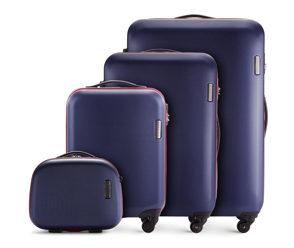 Комплект чемодановКомплект чемоданов из коллекции ABS S-Line. Изготовлен из высокопрочного пластика ABS.  Четыре прочных колеса позволяют легко перемещать чемодан. Имеет телескопическую ручку с фиксатором, эластичная прорезиненная ручка и кодовый замок.  Особенности модели:  отделение с эластичными ремнями, предохраняющими одежду от перемещения;;  отделение на молнии;  карман на молнии.    В состав комплекта входят:    Маленький чемодан  на колесах 56-3-610;  средний чемодан на колесах 56-3-612;  большой чемодан на колесиках 56-3-613;  Косметичка 56-3-614.<br><br>секс: унисекс<br>Цвет: синий<br>материал:: ABS пластик<br>подкладка:: полиэстер<br>высота (см):: 55 - 71 - 81 - 31<br>ширина (см):: 36 - 47.5 - 54 - 35<br>глубина (см):: 20 - 24 -28 - 15<br>размер:: комплект<br>объем (л):: 27 - 64 - 94 - 11<br>вес (кг):: 2.8 - 3.8 - 4.5 - 1.1<br>Комплекты: так