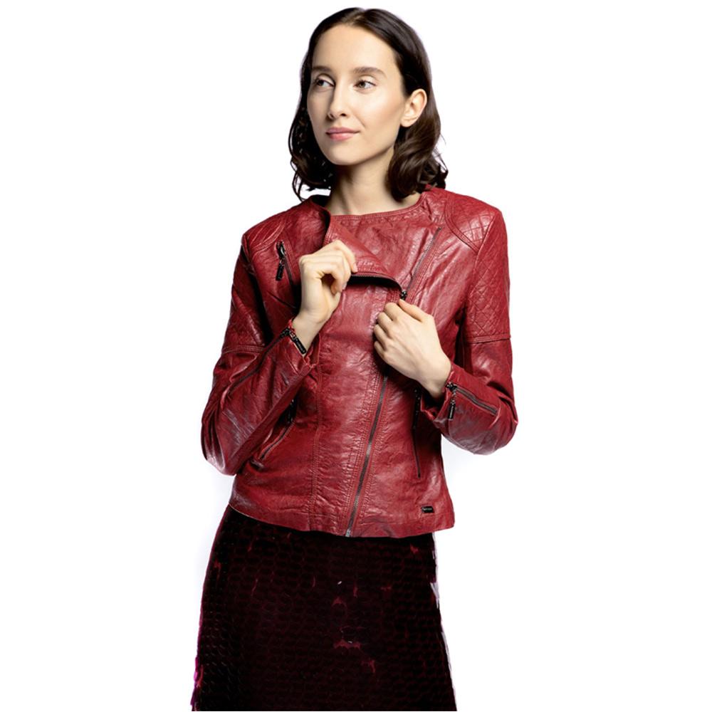 Куртка женскаяКуртка женская<br><br>секс: женщина<br>Цвет: красный<br>Размер INT: S<br>материал:: Екокожа<br>подкладка:: полиэстр<br>примерная общая длина (см):: 50
