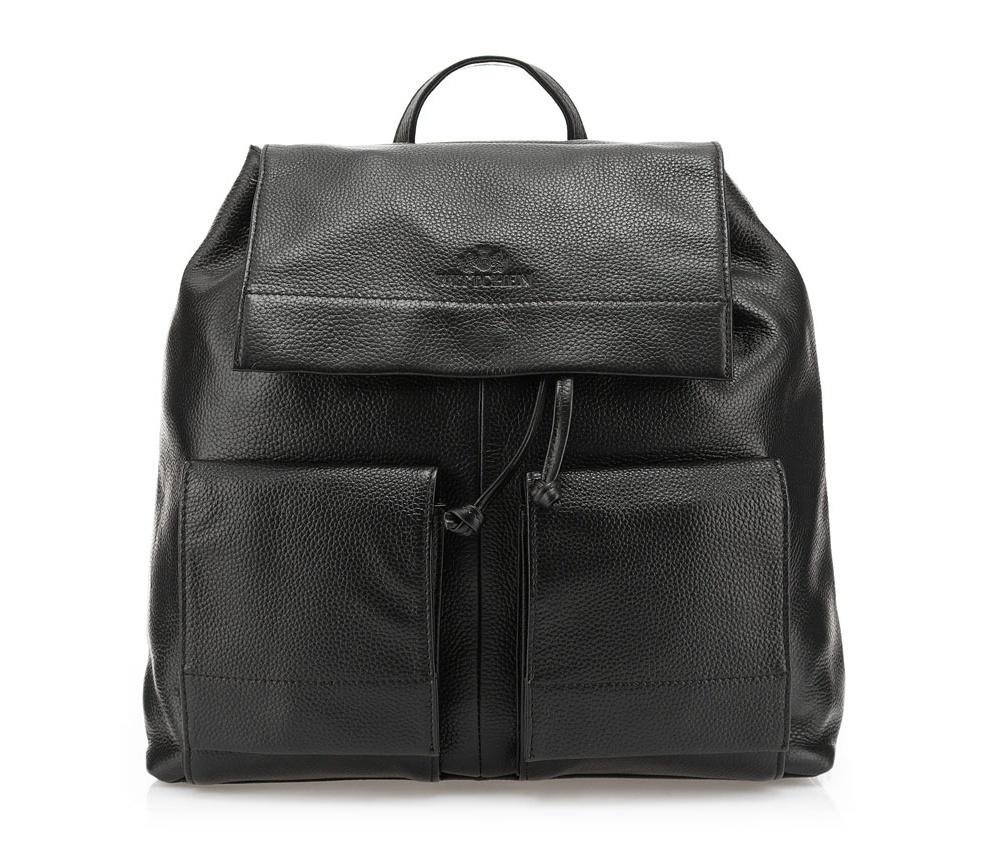 Рюкзак кожаныйРюкзак кожаный<br><br>секс: женщина<br>Цвет: черный<br>материал:: Натуральная кожа<br>тип:: на спине<br>высота (см):: 32<br>ширина (см):: 31 - 41<br>глубина (см):: 9<br>вмещает формат А4: да<br>общая высота (см):: 40<br>вес (кг):: 1