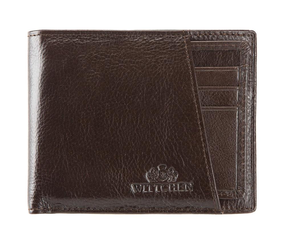 КошелекМужской кожелек, сделан из мягкой телячьей кожи. Логотип- герб WITTCHEN тисненый на коже.&#13;<br>&#13;<br>Кошелек имеет:&#13;<br>&#13;<br>    отделение для монет на молнии,&#13;<br>    2 отделения для купюр,&#13;<br>    4 отделения для кредитных карт,&#13;<br>    2 кармана,&#13;<br>    вынимающийся вкладыш с тремя отделениями для кредитных карт и одним прозрачным карманом,&#13;<br>    Размеры: 110 x 90 мм.&#13;<br>&#13;<br>Кошелек имеет подарочную упаковку с логотипом WITTCHEN, дополнительно с товаром прилагается индивидуальный Сертификат Подлинности, который подтверждает оригинальность и высокое качество товара.&#13;<br>Коллекция Italy, подробное описание коллекции Вы можете найти<br><br>секс: мужчина<br>Цвет: коричневый<br>высота (см):: 9<br>ширина (см):: 11