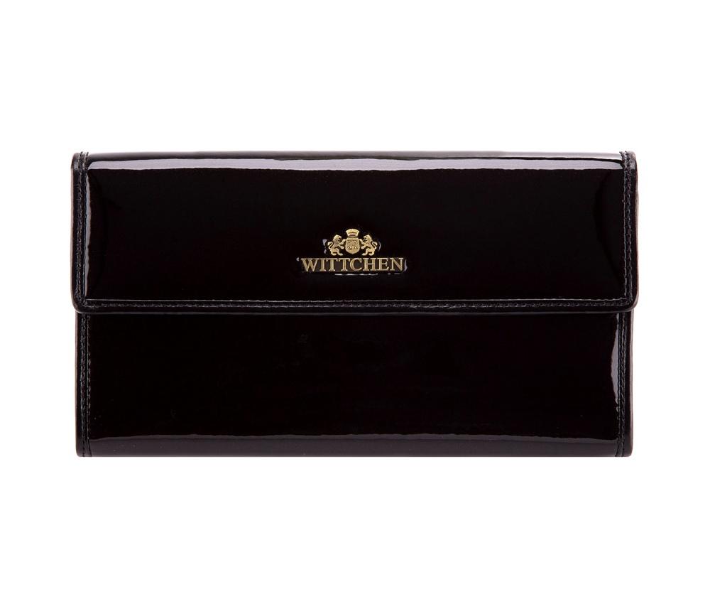 КошелекЖенский кошелек большого размера из коллекции Verona. Сочетание лакированной кожи снаружи и натуральной кожи на внутрнеей стороне кошелька делают модель очень практичной и модной. Логотип - металлический значок с гербом WITTCHEN цвета старого золота. Упаковано в фирменную коробку с логотипом WITTCHEN.&#13;<br>Особенности модели:&#13;<br>&#13;<br>    отделение для мелочи на молнии&#13;<br>    отделение для купюр&#13;<br>    8 слотов для кредитных карт&#13;<br>    2 кармана.<br><br>секс: женщина<br>Цвет: черный<br>материал:: лакированная кожа<br>высота (см):: 9<br>ширина (см):: 19
