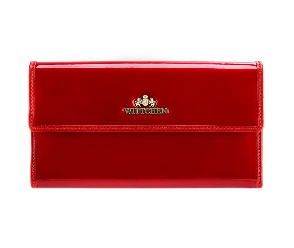 КошелекЖенский кошелек большого размера из коллекции Verona.  Сочетание лакированной кожи снаружи и натуральной кожи на внутрнеей  стороне кошелька делают модель очень практичной и модной. Логотип - металлический значок с гербом WITTCHEN цвета старого золота. Упаковано в фирменную коробку с логотипом WITTCHEN.&#13;<br>Особенности модели:&#13;<br>&#13;<br>    отделение для мелочи на молнии&#13;<br>    отделение для купюр&#13;<br>    8 слотов для кредитных карт&#13;<br>    2 кармана.<br><br>секс: женщина<br>материал:: лакированная кожа<br>высота (см):: 9<br>ширина (см):: 19