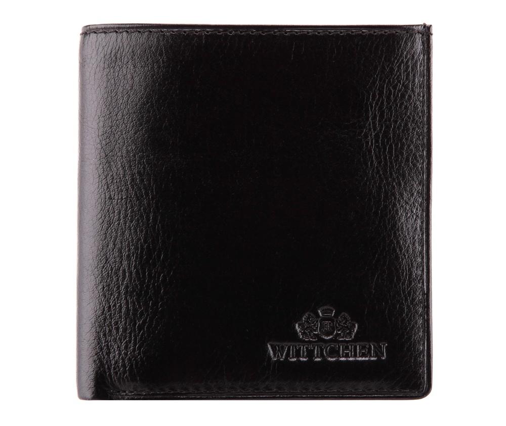 Кошелек Wittchen 21-1-065-1, черныйЖенский кошелек из коллекции Italy, сделан из мягкой телячьей кожи. Логотип- герб WITTCHEN тисненый на коже.  Отделение для монет, 2 отделения для купюр, 3 отделения для кредитных карт, 2 карманчика.<br><br>секс: женщина<br>Цвет: черный<br>высота (см):: 9,5<br>ширина (см):: 9,5