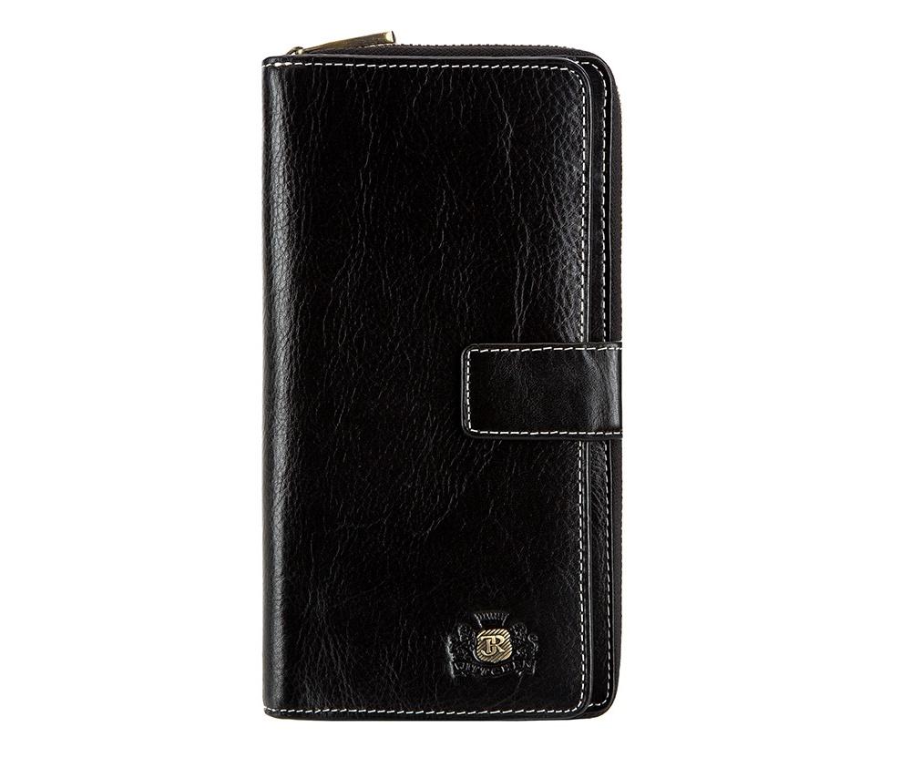 КошелекЖенский кошелёк большого размера из коллекции Roma,  изготовлен из натуральной телячьей кожи высочайшего качества. Фирменный  знак выполнен в виде значка цвета старого золота. Упакован в фирменную  коробку с логотипом WITTCHEN.&#13;<br>Особенности модели:&#13;<br>&#13;<br>    отделение с застежкой-молнией, в котором: 2 кармана для купюр и карман для мелочи на молнии;&#13;<br>    отделение на металлической застежке, в котором: 8 слотов для кредитных карт, 5 отделений, одно из которых прозрачное;&#13;<br>    отделение для автодокументов.<br><br>секс: женщина<br>Цвет: черный<br>материал:: натуральная кожа<br>высота (см):: 19<br>ширина (см):: 10.5