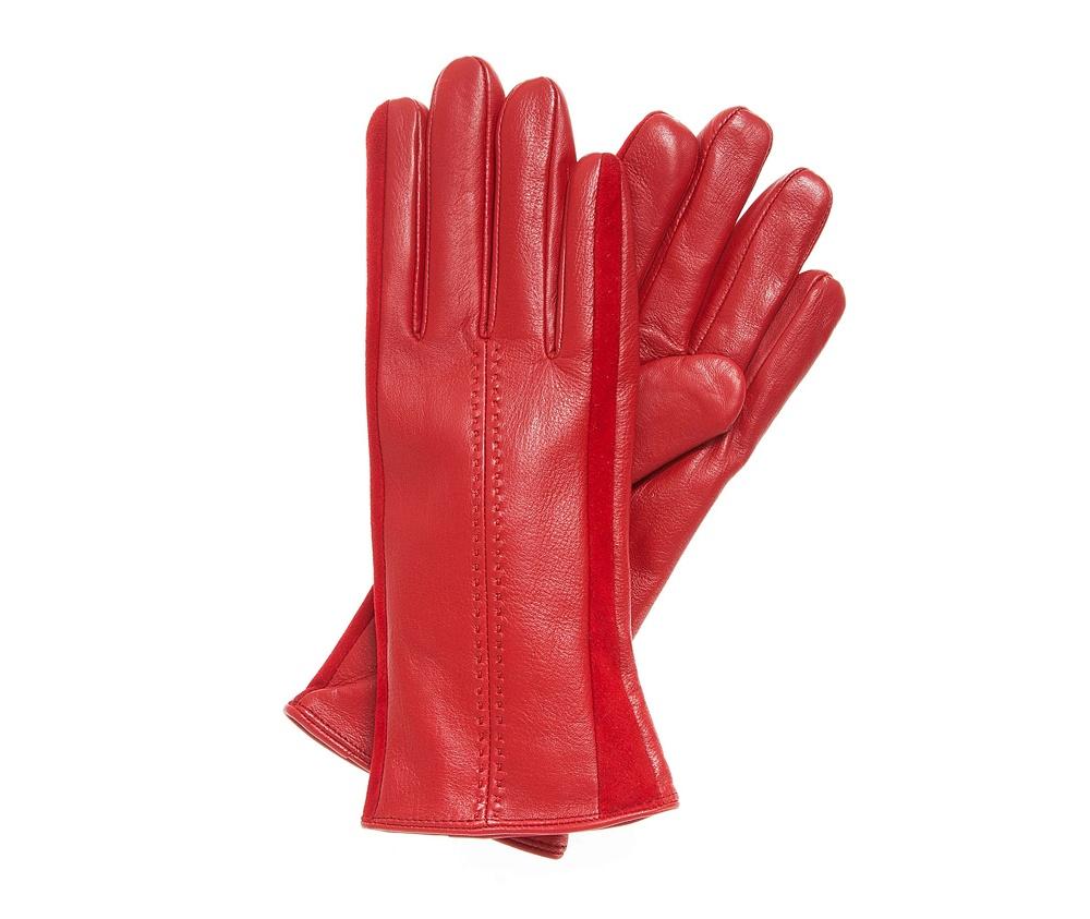 Перчатки женскиеЖенские утепленные перчатки выполнены из высококачественной натуральной кожи. Перчатки идеально  ложатся по руке, благодаря вшитой изнутри эластичной резинке. Данная модель-это идеальное сочетание классики с элегантностью. Перчатки с двумя замшевыми вставками по бокам и аккуратной отстрочкой  по центру станут прекрасным дополнением классического стиля.<br><br>секс: женщина<br>Размер INT: V<br>вид:: утепленные<br>материал:: Натуральная кожа<br>подкладка:: polar