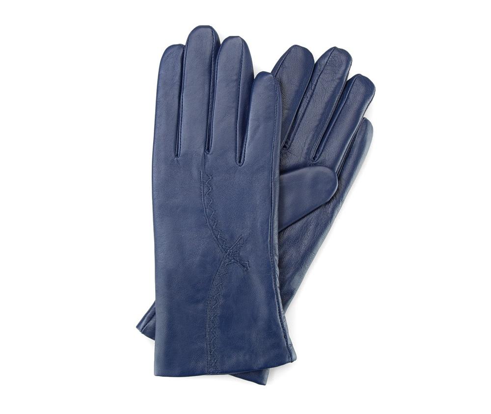 Перчатки женские кожаныеПерчатки женские кожаные<br><br>секс: женщина<br>Цвет: синий<br>Размер INT: S