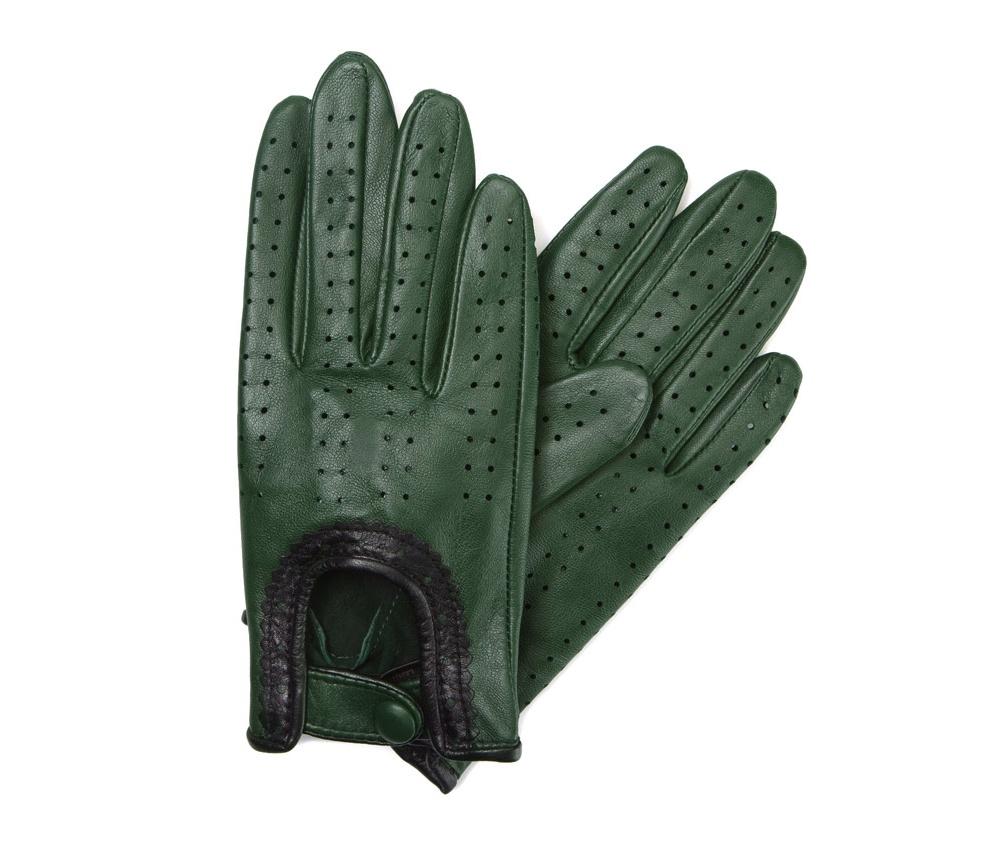 Перчатки женские автомобильныеЖенские автомобильные перчатки, изготовлены из натуральной кожи высокого качества. Эта модель не только практична, но и очень привлекательна. Интересная отделка делает перчатки очень элегантными и женственными. Их дополнительным преимуществом является кнопка, облегчающая надевание.       Размер  V  S  M  L  XL      Длина (cм)  19,5  20  20,5  21  21,5      Ширина (cм)  8  8,5  9  9,5  10      Длина среднего палеца (cм)  7,5  8  8,5  9  9,5<br><br>секс: женщина<br>Цвет: зеленый<br>Размер INT: M<br>вид:: автомобильные<br>материал:: Натуральная кожа