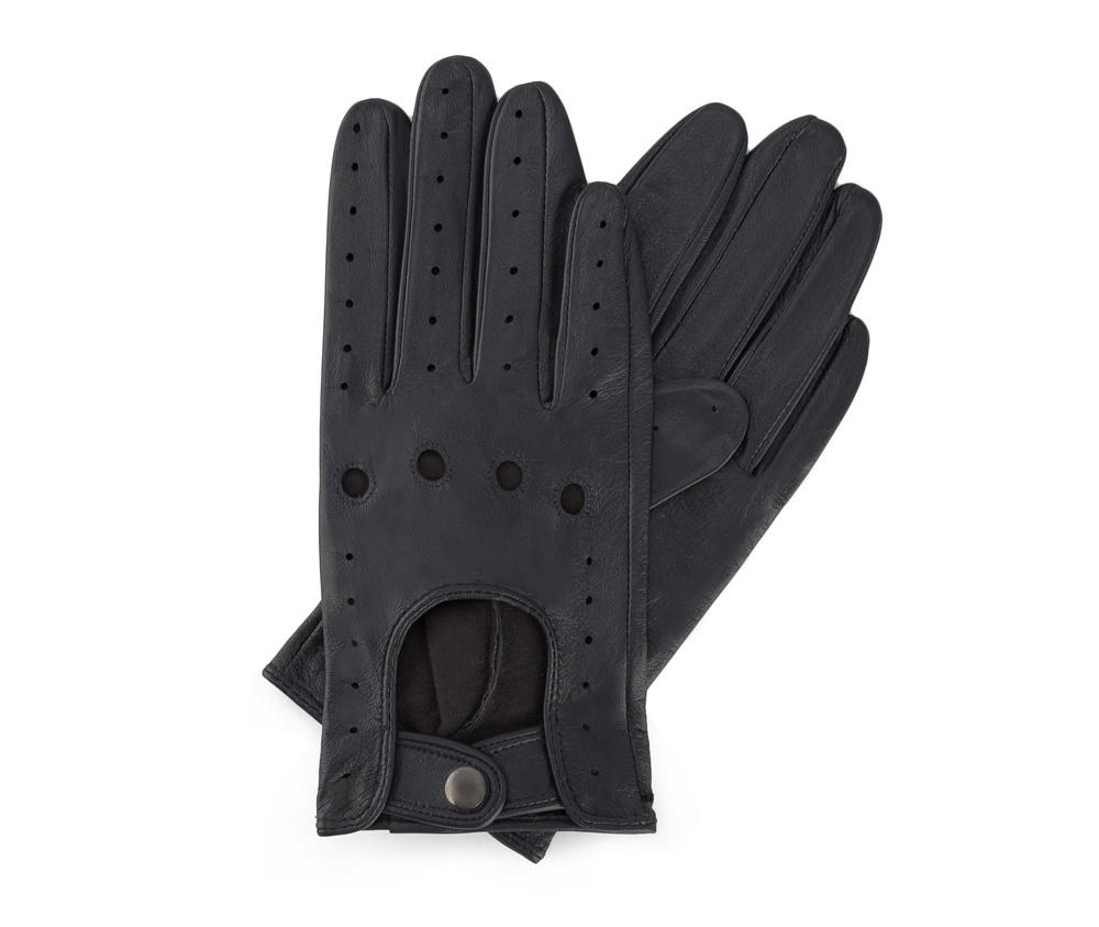 Перчатки женскиеЖенские автомобильные перчатки, изготовлены из натуральной кожи высокого качества. Застежка на кнопке, безусловно, облегчает надевание перчаток, а оригинальные вырезы придаёт им современный характер.     Размер  V  S  M  L  XL      Длина (cм)  18  18,5  19  20  20,5      Ширина (cм)  7,5  8  8,5  9  9,5      Длина среднего палеца (cм)  7  7,5  8  8,5  9<br><br>секс: женщина<br>Цвет: синий<br>Размер INT: L<br>вид:: автомобильные<br>материал:: Натуральная кожа