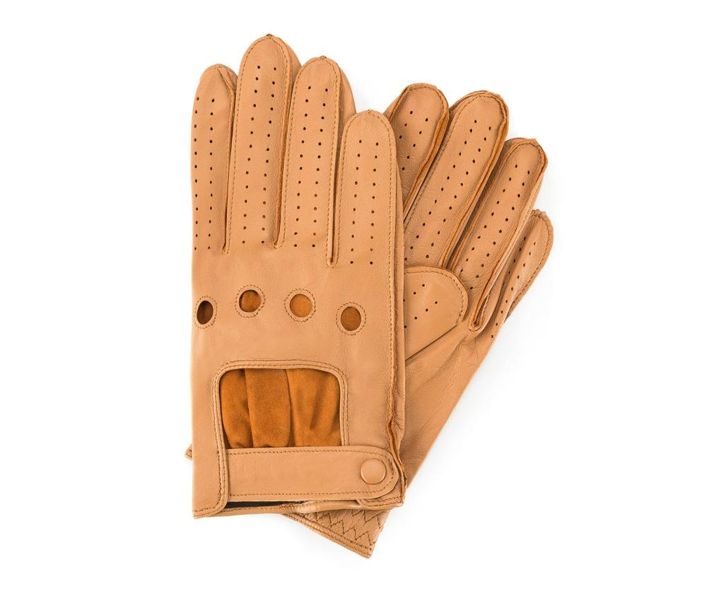 Перчатки мужскиеМужские автомобильные перчатки, изготовлены из натуральной кожи высокого качества. Преимущества модели-это функциональность, превлекательность и застежка липучка, которая позволяет отрегулировать перчатки под ширину вашей руки.         Размер  V  S  M  L  XL      Длина (cм)  20,5  21  21,5  22  22,5      Ширина (cм)  9,5  10  10,5  11  11,5      Длина среднего палеца (cм)  7,5  8  8,5  9  9,5<br><br>секс: мужчина<br>Цвет: коричневый<br>Размер INT: M<br>материал:: Натуральная кожа