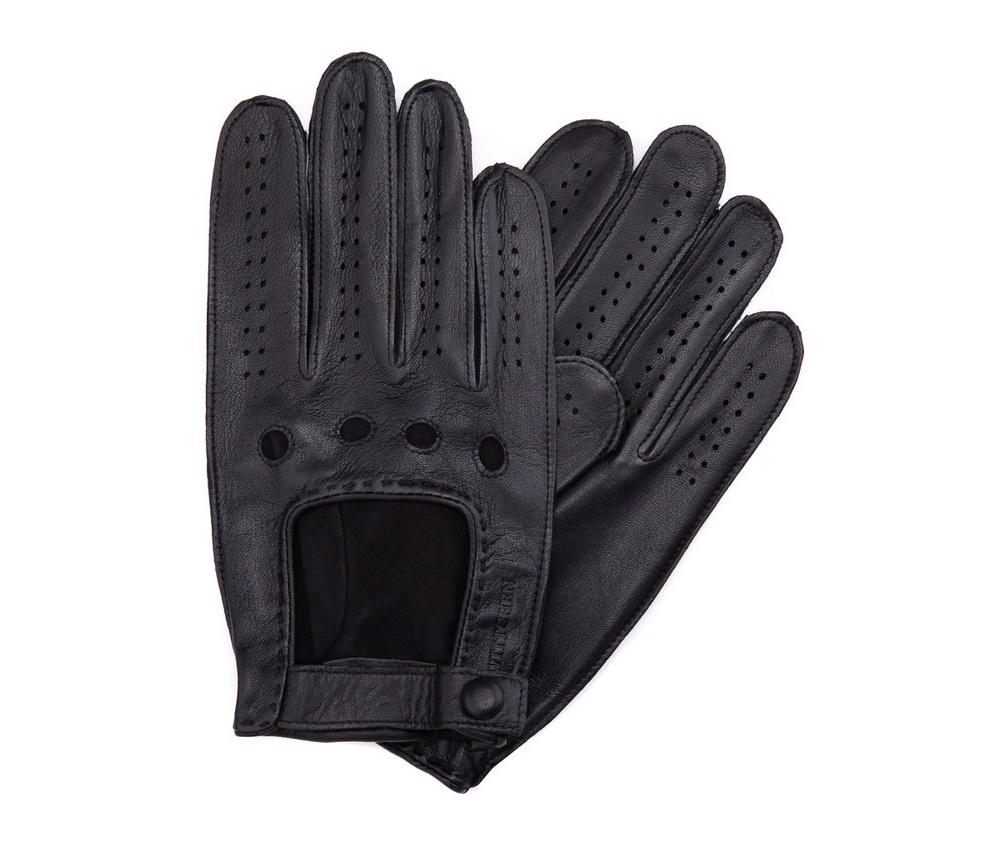 Перчатки мужские автомобильныеМужские автомобильные перчатки,сделан из натуральной кожи высокого качества. Преимущества модели-это функциональность, застежка на липучке облегчающая надевание и вшитая эластичная резинка, благодаря которой перчатки лучше прилегают.              Размер    V    S    M    L    XL           Длина (cм)    21    21,5    22    22,5    23           Ширина (cм)    10    10,5    11    11,5    12           Длина среднего палеца (cм)    8    8,5    9    9,5    10<br><br>секс: мужчина<br>Цвет: черный<br>Размер INT: M<br>материал:: Натуральная кожа