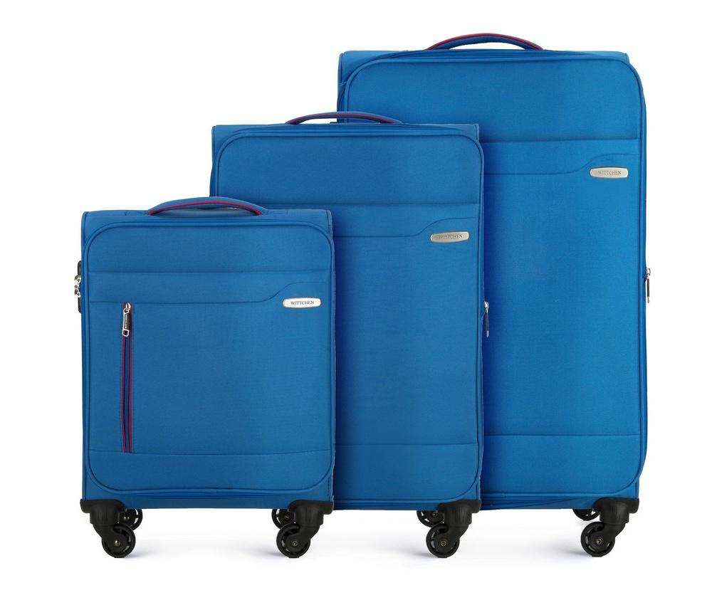 Комплект чемодановКомплект чемоданов из коллекции Stripe Line изготовлен из полиэстера. Каждый чемодан оснащен четырьмя прочными колесиками, телескопической  и дополнительно ручками, которые позволяют легко перемещать багаж. Дополнительно снаружи внешние карманы. Защита в виде кодового замка, который препятствует доступу внутрь чемодана.&#13;<br> Внутри:основное отделение на молнии с регулируемыми ремнями, предохраняющими одежду от перемещения; карман - сетка на молнии.&#13;<br> Снаружи: с лицевой стороны 2 кармана закрываются на молнию; дополнительно молния, позволяющая увеличить объем чемодана на 5 см.&#13;<br> В состав комплекта входят:&#13;<br> Маленький чемодан на колесах 56-3S-441; Средний чемодан на колесах 56-3S-442; Большой чемодан на колесах 56-3S-443.<br><br>секс: унисекс<br>Цвет: голубой<br>материал:: Полиэстер<br>высота (см):: 55 - 69 - 79<br>ширина (см):: 38 - 41 - 46<br>глубина (см):: 20 - 25 - 29<br>размер:: комплект<br>объем (л):: 31 - 58 - 81<br>вес (кг):: 2,4 - 2,9 - 3,5<br>Комплекты: так