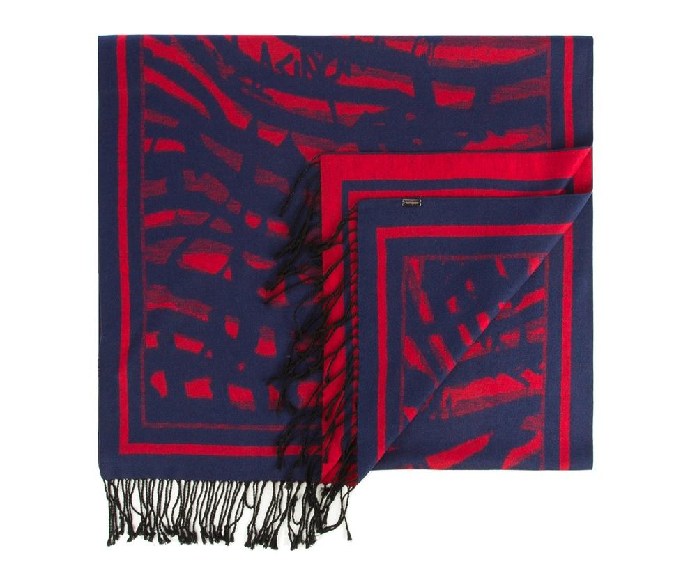 Платок женскийЖенская шаль выполнена из шелка с знаком наивысшего качества King Silk. Интересные мотивы, украшающие шарф отлично разнообразят классику,а благородный материал обеспечивает защиту в холодную погоду.<br><br>секс: женщина<br>Цвет: синий<br>материал:: Шелк<br>высота (см):: 190<br>ширина (см):: 66
