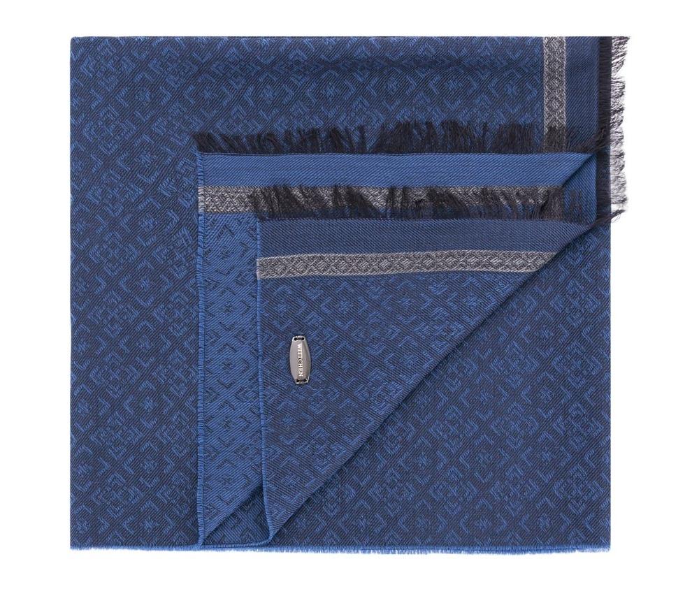 Шарф мужскойМужской шарф выполнен из шерсти и вискозы. Модный дизайн и отделка в виде бахромы идеально дополнит элегантной образ.<br><br>секс: мужчина<br>Цвет: синий<br>материал:: Шерсть<br>ширина (см):: 60