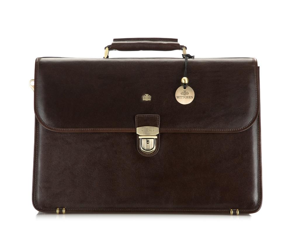 Портфель Wittchen 10-3-056-4, коричневыйКожаный портфель из коллекции Arizona. Изготовлен из итальянской кожи высочайшего качества двойной выделки. Фирменный знак выполнен в виде металлического значка цвета старого золота. Упакован в фирменный текстильный мешочек с логотипом WITTCHEN. Статусный аксессуар, который является неотъемлемой частью имиджа делового человека.  Особенности модели:        3 отделения      3 кармана на молнии      3 крепления для ручек      4 слота для кредитных карт      отделение для мобильного телефона      карман для млких предметов      закрывается клапаном на замок.    Дополнительно:        на тыльной стороне 2 отделения, из которых 1 на молнии      съемный плечевой ремень с регулируемой длиной.<br><br>секс: мужчина<br>Цвет: коричневый<br>материал:: натуральная кожа<br>высота (см):: 30<br>ширина (см):: 42<br>глубина (см):: 8-18