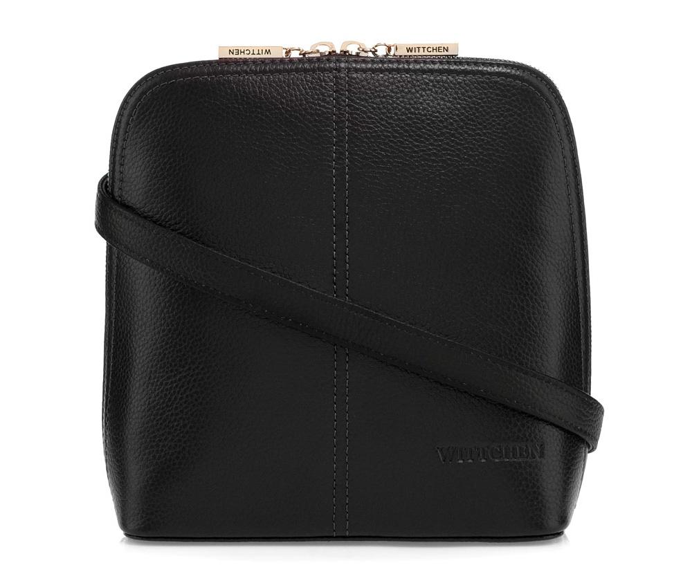 Женская сумкаСумки из коллекции Elegance. Основное отделение закрывается на молнию и разделено карманом на молнии. Внутри карман на молнии и открытый  карман для мелких предметов. Дополнительно съемный, регулируемый ремень.<br><br>секс: женщина<br>Цвет: черный<br>материал:: Натуральная кожа<br>тип:: через плечо<br>высота (см):: 20,5<br>ширина (см):: 18,5<br>глубина (см):: 9<br>вмещает формат А4: нет<br>вес (кг):: 0,4