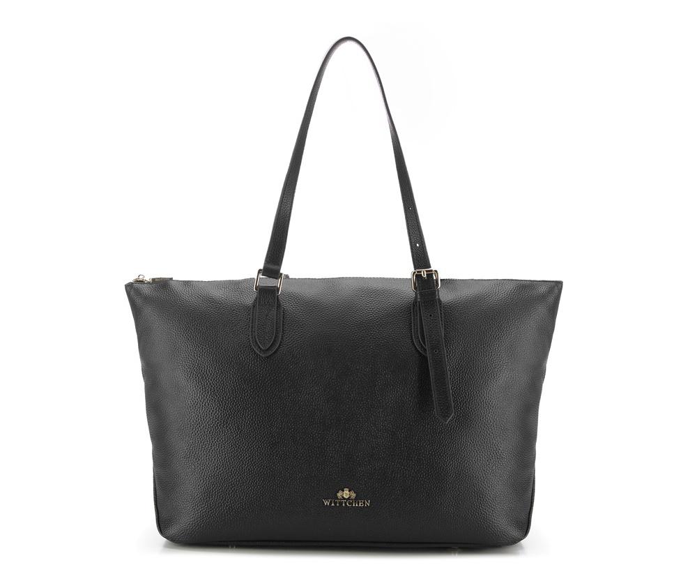 Женская сумкаЖенская сумка из коллекции Elegance.&#13;<br>Основной отдел застегивается на молнию. Внутри 2 кармана на молнии, открытый карман для мелких предметов и отделение для мобильного телефона. С тыльной стороны карман на молнии. Дно сумки защищено металлическими ножками.<br><br>секс: женщина<br>Цвет: черный<br>материал:: Натуральная кожа<br>высота (см):: 30<br>ширина (см):: 32 - 49<br>глубина (см):: 13<br>иное :: поместит формат А4<br>общая высота (см):: 52<br>длина ручки/ек (см):: 59