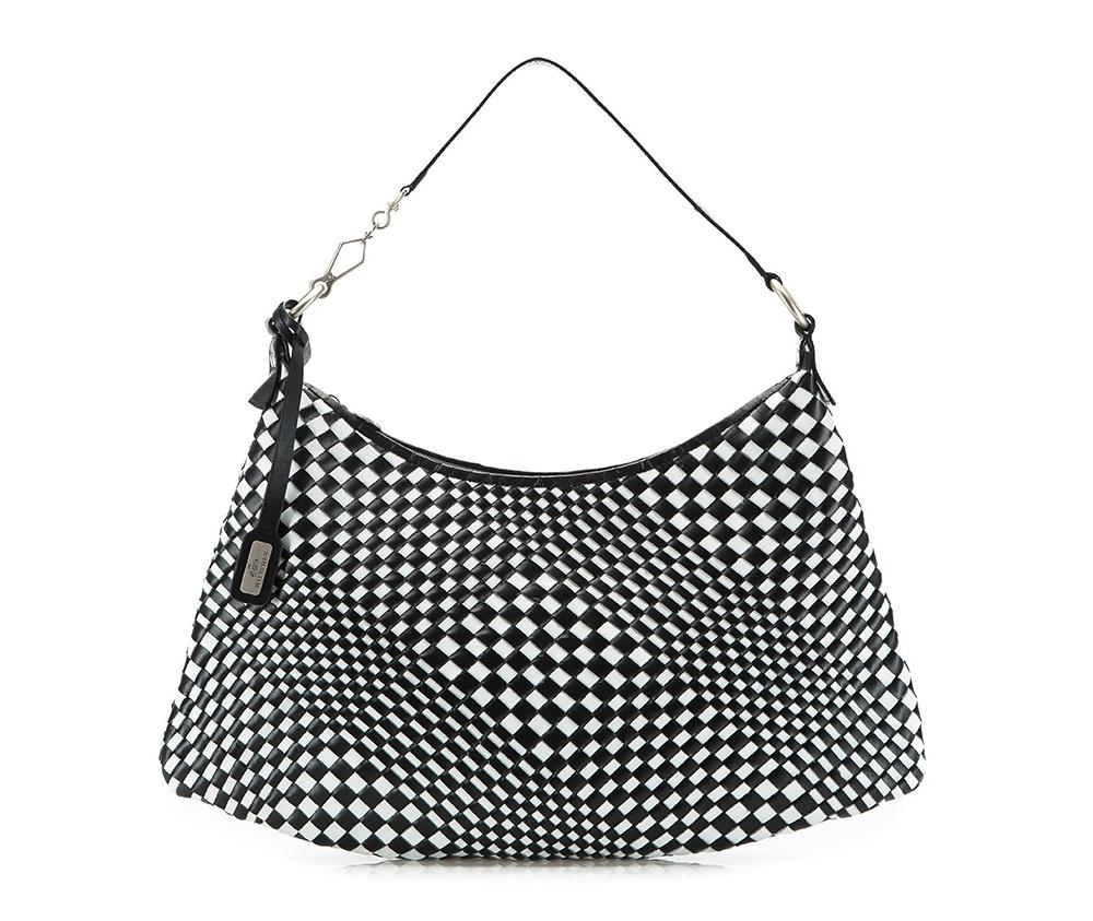 Женская сумкаЖенская сумка из коллекции Elegance Лето 2015Основное отделение сумки закрывается на молнию. Внутри карман на молнии и два открытых кармана для мелких предметов.<br><br>секс: женщина<br>Цвет: черный<br>материал:: натуральная кожа<br>высота (см):: 25 - 27<br>ширина (см):: 34 - 47<br>глубина (см):: 2.5