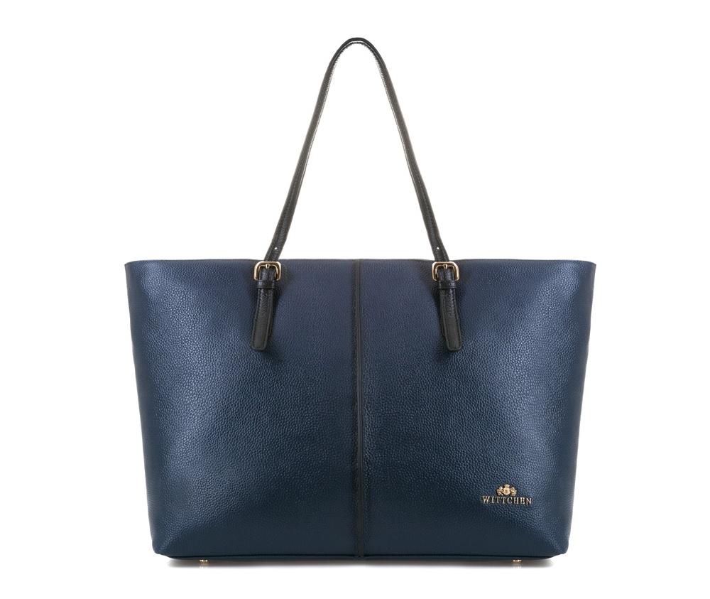 Женская сумкаЖенская сумка из коллекции Elegance. &#13;<br>Основной отдел  застегивается на молнию. Внутри 2 кармана на молнии и  открытый карман  для мелких предметов. Возможность ругулирования длины  ручек<br><br>секс: женщина<br>Цвет: синий<br>материал:: Натуральная кожа<br>высота (см):: 30<br>ширина (см):: 36 - 47<br>глубина (см):: 15<br>общая высота (см):: 54<br>длина ручки/ек (см):: 48 - 61
