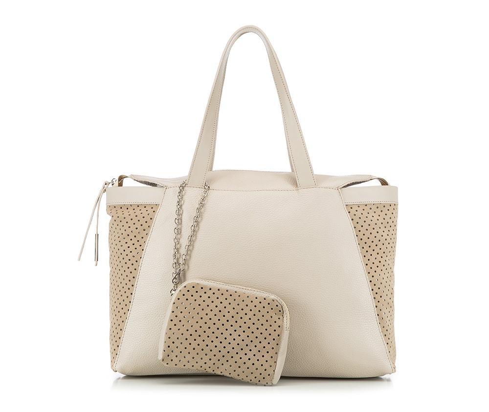 Женская сумкаЖенская сумка из коллекции Elegance 2016&#13;<br>Основное  отделение на молнии. &#13;<br>Дополнительно съемная косметичка размером 13 см x 17 см x 2 см.<br><br>секс: женщина<br>Цвет: бежевый<br>материал:: натуральная кожа<br>высота (см):: 26<br>ширина (см):: 39 - 47<br>глубина (см):: 9<br>общая высота (см):: 49