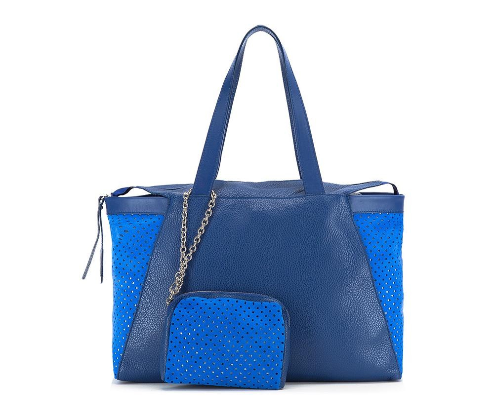 Женская сумкаЖенская сумка из коллекции Elegance 2016&#13;<br>Основное  отделение на молнии. &#13;<br>Дополнительно съемная косметичка размером 13 см x 17 см x 2 см.<br><br>секс: женщина<br>Цвет: синий<br>материал:: натуральная кожа<br>высота (см):: 26<br>ширина (см):: 39 - 47<br>глубина (см):: 9<br>общая высота (см):: 49