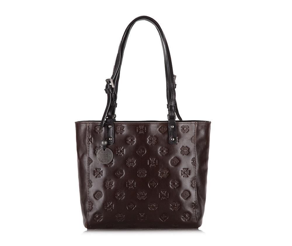 Женская сумкаЖенская сумка из коллекции Signature. Основное отделение на молнии, внутри карман на молнии и два отделения для мелких предметов.<br><br>секс: женщина<br>Цвет: коричневый<br>материал:: натуральная кожа<br>высота (см):: 23<br>ширина (см):: 24 - 33<br>глубина (см):: 10