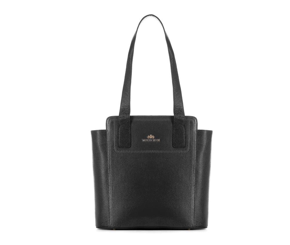 Женская сумкаЖенская сумка из коллекции Elegance&#13;<br>Основной отдел застегивается на молнию. Внутри карман на молнии, открытый карман для мелких предметов и отделение для мобильного телефона. С тыльной стороны карман на молнии. Дно сумки защищено металлическими  ножками.<br><br>секс: женщина<br>Цвет: черный<br>вмещает формат А4: Вмещает формат А4<br>материал:: натуральная кожа<br>высота (см):: 26 - 30<br>ширина (см):: 30 - 36<br>глубина (см):: 13.5<br>общая высота (см):: 58<br>длина ручки/ек (см):: 67