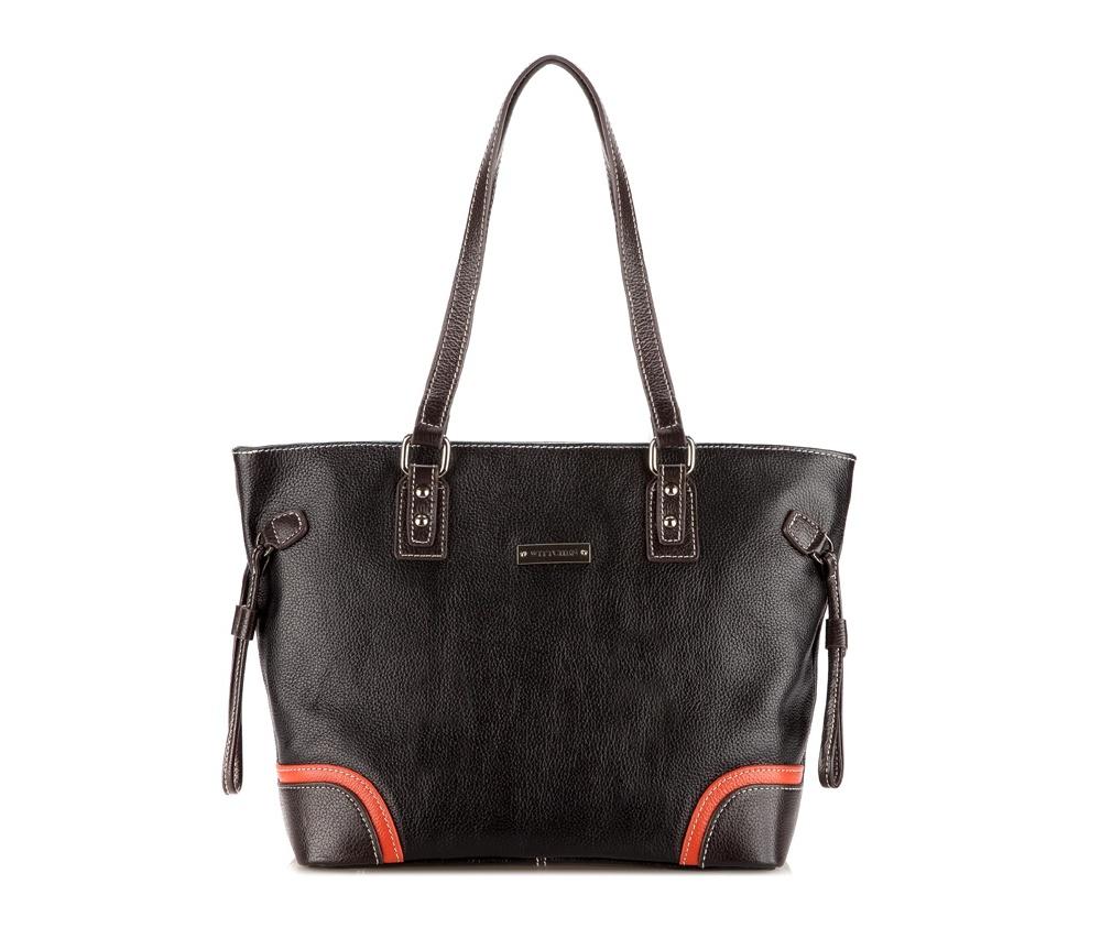 Женская сумкаЖенская сумка из коллекции Elegance. Основное отделение на молнии разделенное на две части отделением на молнии. Внутри маленький карман на молнии и два открытых отделения для мелких предметов. На обратной стороне карман на молнии, основание сумки на металлических ножках.<br><br>секс: женщина<br>Цвет: черный<br>высота (см):: 26<br>ширина (см):: 30 - 40<br>глубина (см):: 12
