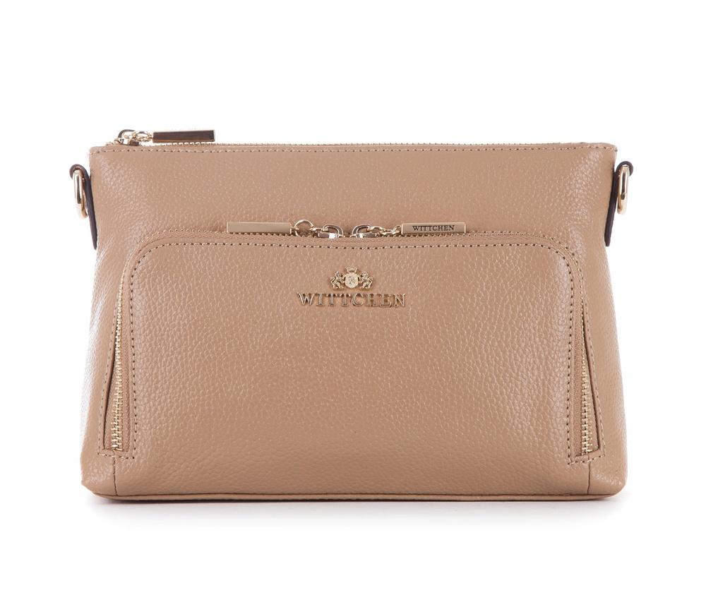 Женская сумкаЖенская сумка из коллекцииElegance&#13;<br>Открытое основное отделение закрывается на застежку молнию. Внутри карман на молнии С тыльной и лицевой есть карман на молнии. Дополнительно прилагается съемный, регулируемый ремень.<br><br>секс: женщина<br>Цвет: бежевый<br>материал:: Натуральная кожа<br>длина плечевого ремня (cм):: 112 - 126<br>высота (см):: 16<br>ширина (см):: 23<br>глубина (см):: 6