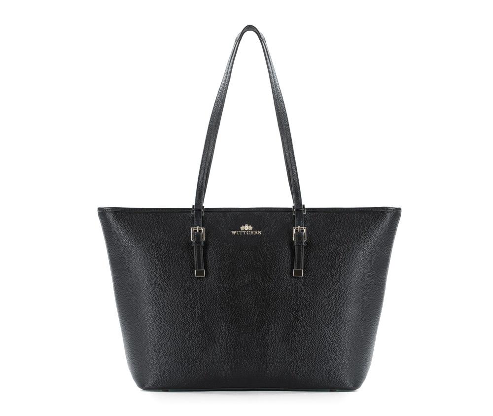 Женская сумкаЖенская сумка из коллекции Elegance&#13;<br>Основной отдел застегивается на молниюи разделен карманом на молнии. Внутри двакармана на молнии, открытый карман для мелких предметов и отделение для мобильного телефона. С тыльной стороны карман на молнии. Дно сумки защищено металлическими ножками.&#13;<br>.<br><br>секс: женщина<br>Цвет: черный<br>вмещает формат А4: поместит формат А4<br>материал:: Натуральная кожа<br>высота (см):: 28.5<br>ширина (см):: 34 - 47<br>глубина (см):: 13.5<br>общая высота (см):: 56<br>длина ручки/ек (см):: 65
