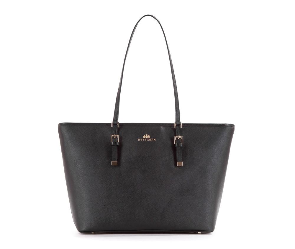 Женская сумкаЖенская сумка из коллекции Elegance&#13;<br>Основной отдел застегивается на молниюи разделен карманом на молнии. Внутри двакармана на молнии, открытый карман для мелких предметов и отделение для мобильного телефона. С тыльной стороны карман на молнии. Дно сумки защищено металлическими ножками.<br><br>секс: женщина<br>Цвет: черный<br>вмещает формат А4: поместит формат А4<br>материал:: Натуральная кожа<br>высота (см):: 28<br>ширина (см):: 34 - 46<br>глубина (см):: 13.5<br>общая высота (см):: 55<br>длина ручки/ек (см):: 63