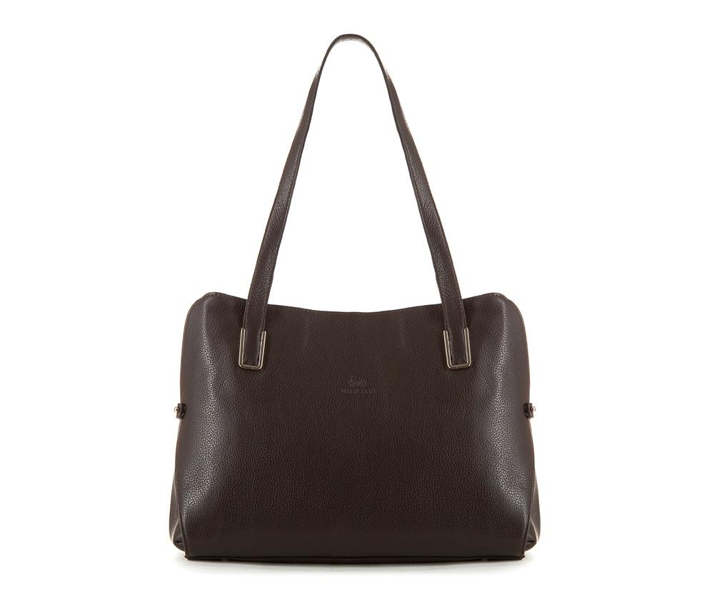 Женская сумкаЖенская сумка из коллекции Elegance&#13;<br>Основной отдел застегивается на молнию, разделен карманом на молнии.Внутри карман на молнии, открытый карман для мелких предметов и отделение для мобильного телефона. С тыльной стороны   карман на молнии.<br><br>секс: женщина<br>Цвет: коричневый<br>материал:: Натуральная кожа<br>высота (см):: 26<br>ширина (см):: 31 - 35<br>глубина (см):: 11<br>иное :: поместит формат А4<br>общая высота (см):: 52<br>длина ручки/ек (см):: 67