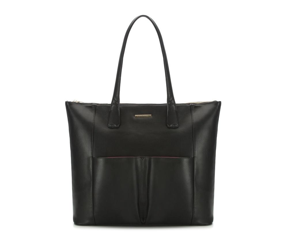 Женская сумкаЖенская сумка из коллекции E-BAG&#13;<br> E-BAG представляет собой сочетание классического стиля и современных решений.&#13;<br>Внутри  специальные перегородки для аксессуаров, которые позволяют сохранить  порядок внутри сумки. Основное отделение закрывается на молнию.Внутри  карман для устройств с максимальными размерами: 19 см x 27 см, карман на  молнии, отделение для мобильного телефона, карман для наушников, 2  места для ручек и карман для блока питания.&#13;<br>Дополнительно спереди два открытых кармана для мелких предметов.<br><br>секс: женщина<br>Цвет: черный<br>материал:: Экокожа<br>ширина (см):: 41 - 47<br>высота (см):: 37.5<br>глубина (см):: 15.5<br>длина ручки/ек (см):: 65
