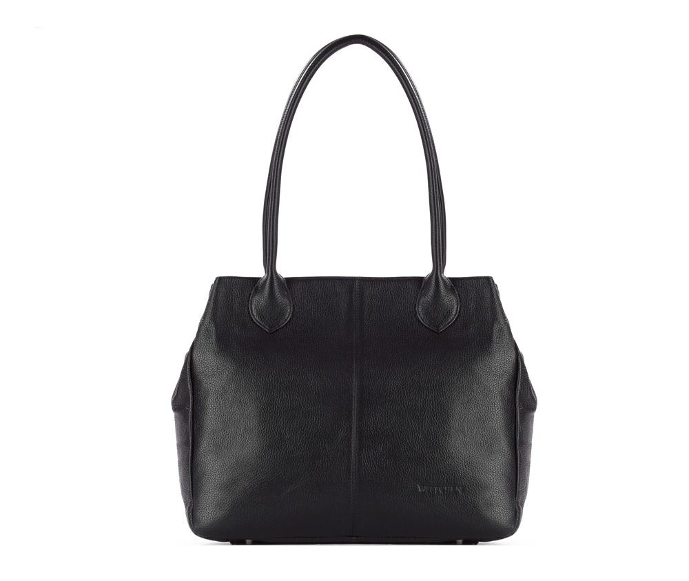 Женская сумкаЖенская сумка из коллекции Elegance&#13;<br>Основной отдел застегивается на молнию.Внутри карман на молнии, открытый карман для мелких предметов и отделение для мобильного телефона. С тыльной стороны карман на молнии. Дно сумки защищено металлическими ножками.<br><br>секс: женщина<br>Цвет: черный<br>вмещает формат А4: поместит формат А4<br>материал:: Натуральная кожа<br>высота (см):: 29<br>ширина (см):: 35 - 47<br>глубина (см):: 12<br>общая высота (см):: 54<br>длина ручки/ек (см):: 63