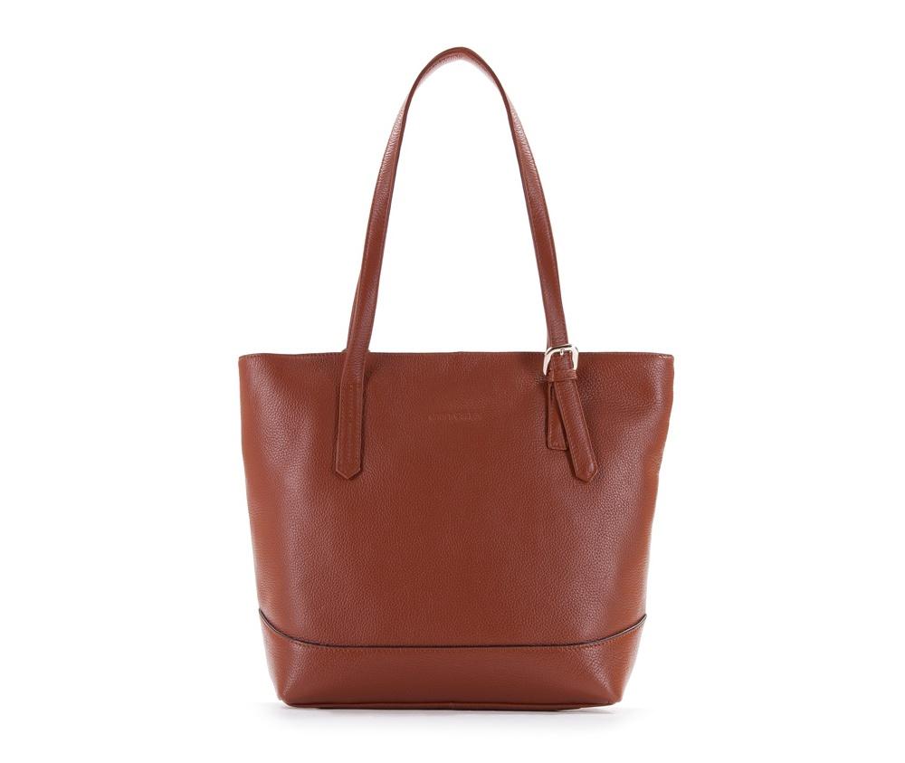 Женская сумкаЖенская сумка из коллекции Elegance&#13;<br>Основной отдел застегивается на молнию.Внутри карман на молнии, открытый карман для мелких предметов и отделение для мобильного телефона. С тыльной стороны   карман на молнии.<br><br>секс: женщина<br>Цвет: коричневый<br>вмещает формат А4: поместит формат А4<br>материал:: Натуральная кожа<br>высота (см):: 30<br>ширина (см):: 28 - 36<br>глубина (см):: 11<br>общая высота (см):: 56<br>длина ручки/ек (см):: 60