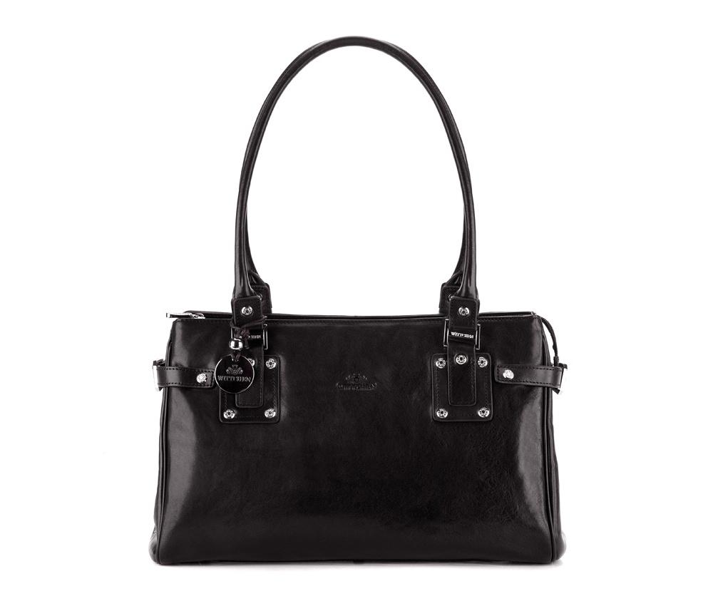 Женская сумкаЖенская сумка из коллекцииVenus&#13;<br>Основное отделение на молнии, разделено на 2 части. Внутри карман на молнии и для мобильного телефона, 2 крепления для ручек. На обратной стороне карман на молнии.<br><br>секс: женщина<br>Цвет: черный<br>материал:: натуральная кожа<br>высота (см):: 24<br>ширина (см):: 36<br>глубина (см):: 11.5<br>общая высота (см):: 50