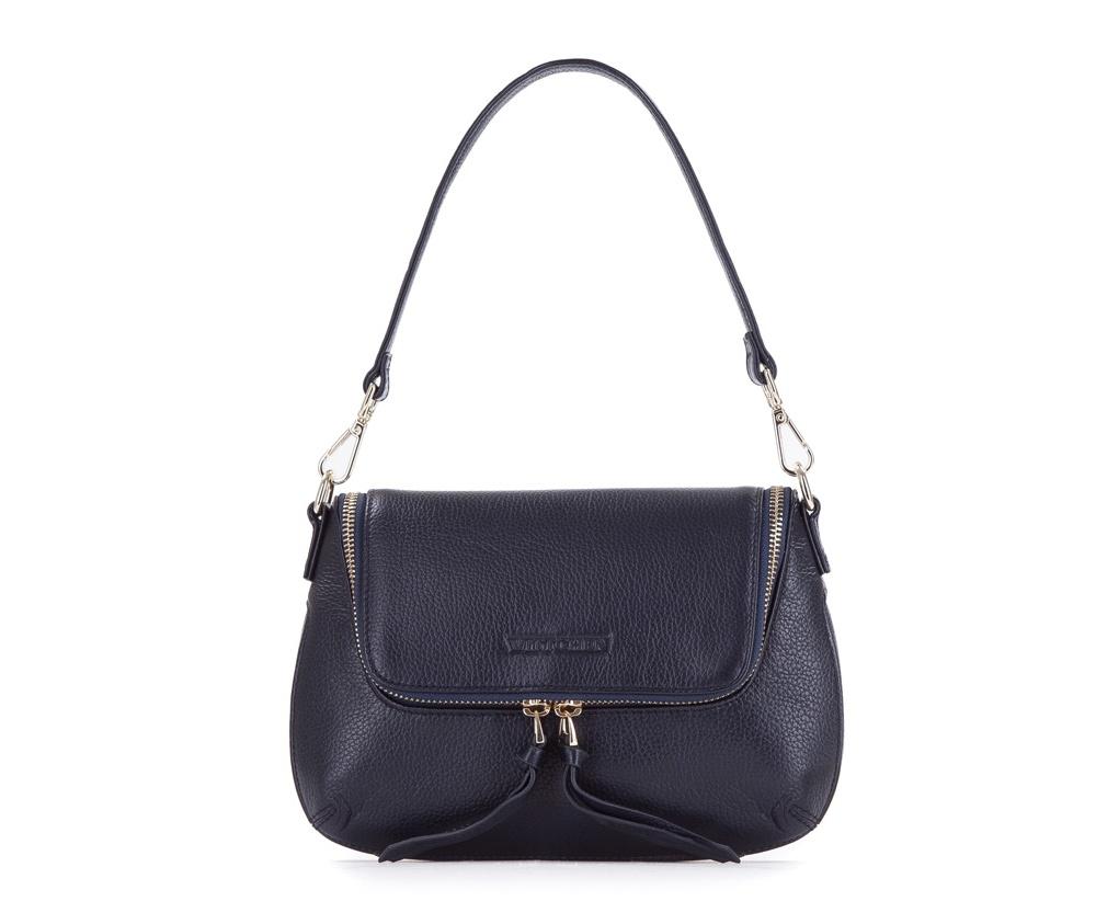 Женская сумкаЖенская сумка из коллекции Elegance&#13;<br> Основной отдел застегивается на молнию. Внутри два кармана на молнии и открытый  карман для мелких предметов. С тыльной стороны карман застегивается на молнию. Дополнительтно два съемных ремня, один из которых можно регулировать по длине.<br><br>секс: женщина<br>материал:: Натуральная кожа<br>длина плечевого ремня (cм):: 42 / 118 - 128<br>высота (см):: 17<br>ширина (см):: 22 - 26<br>глубина (см):: 3