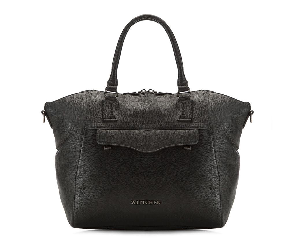 Женская сумкаЖенская сумка из коллекции Elegance 2016&#13;<br>Основной   отдел     застегивается на молнию. Внутри открытый    карман для    мелких    предметов отделение на молнии для мобильного   телефона и крепление для ручки.<br><br>секс: женщина<br>Цвет: черный<br>материал:: натуральная кожа<br>длина плечевого ремня (cм):: 115 - 137<br>высота (см):: 26<br>ширина (см):: 27 - 40<br>глубина (см):: 12<br>общая высота (см):: 40