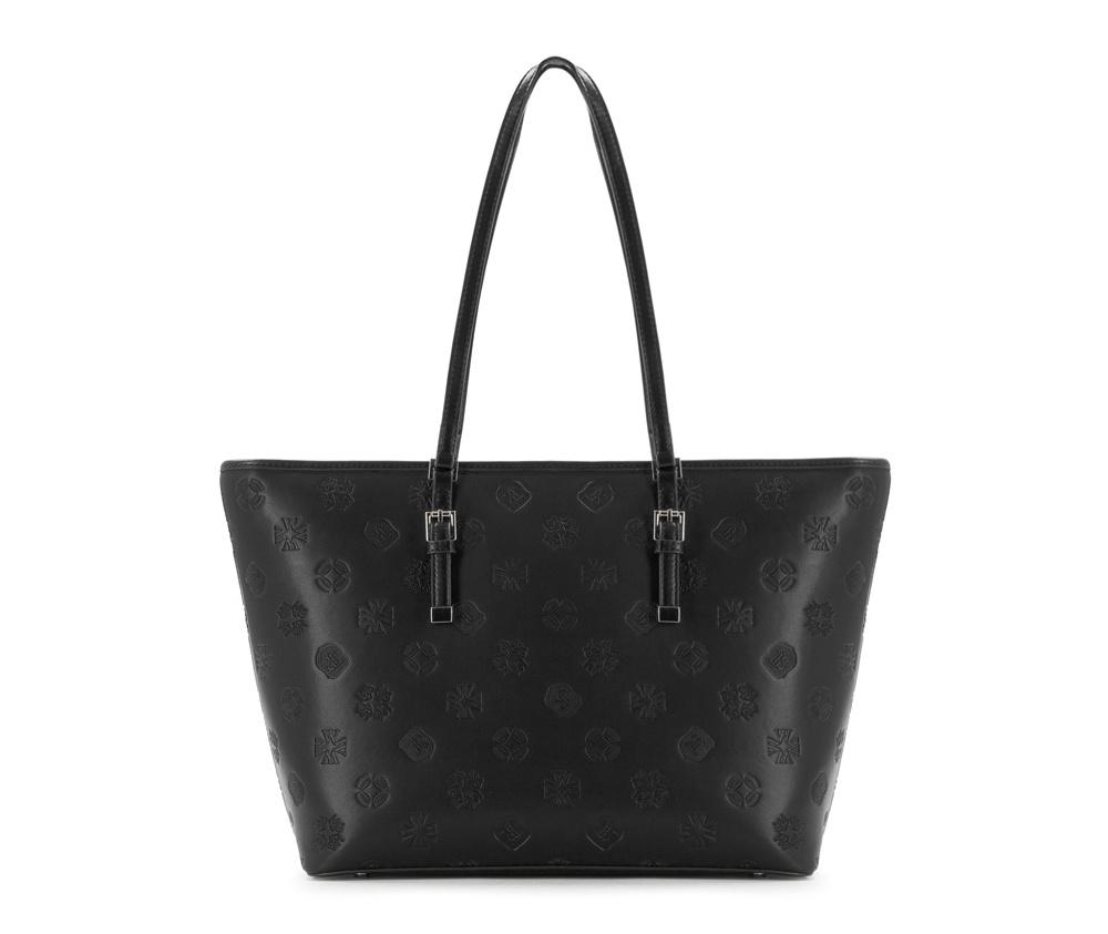 Женская сумкаЖенская сумка из коллекции Elegance&#13;<br>Основной отдел застегивается на молнию, разделен карманом на молнии.Внутридвакармана на молнии, открытый карман для мелких предметов и отделение для мобильного телефона. С тыльной стороны карман на молнии. Дно сумки защищено металлическими ножками.<br><br>секс: женщина<br>Цвет: черный<br>вмещает формат А4: поместит формат А4<br>материал:: Натуральная кожа<br>высота (см):: 28<br>ширина (см):: 34 - 46<br>глубина (см):: 13.5<br>общая высота (см):: 56<br>длина ручки/ек (см):: 63