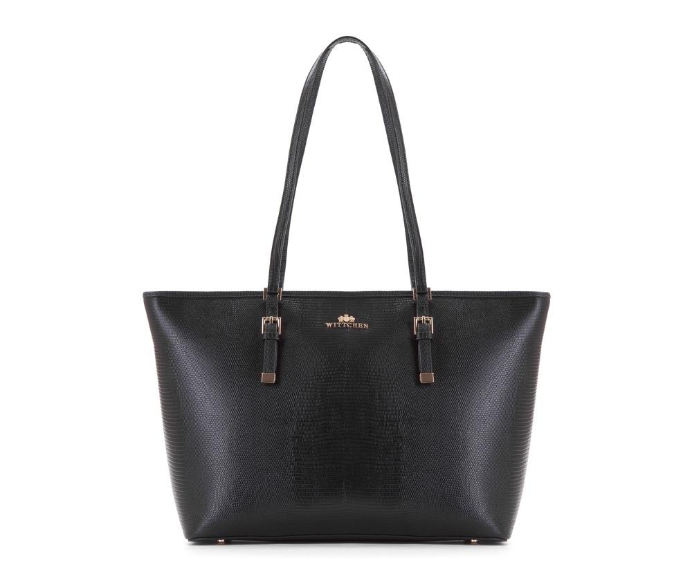 Женская сумкаЖенская сумка из коллекции Elegance&#13;<br>Основной отдел застегивается на молниюи разделен карманом на молнии. Внутри двакармана на молнии, открытый карман для мелких предметов и отделение для мобильного телефона. С тыльной стороны карман на молнии. Дно сумки защищено металлическими ножками.<br><br>секс: женщина<br>Цвет: черный<br>вмещает формат А4: поместит формат А4<br>материал:: Натуральная кожа<br>высота (см):: 29<br>ширина (см):: 34 - 44<br>глубина (см):: 13.5<br>общая высота (см):: 56<br>длина ручки/ек (см):: 64