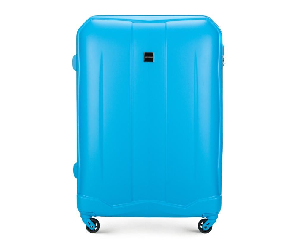 Чемодан на колесиках 28\\ Wittchen 56-3A-263-77, голубойБольшой чемодан из коллекции Summer Line II выполнен из прочного и устойчевого к царапинам ABS пластика. Модель оснащена четырьмя прочными  колесиками, двухступенчатой выдвижной ручкой и кодовым замком.   Внутри:    отделение с эластичными ремнями, предохраняющими одежду от перемещения;  дополнительно основное отделение оснащено перегородкой на молнии с карманом из сетки на молнии;  карман - сетка на молнии;  отделение на молнии.   *Указанные размеры включают в себя также выступающие элементы, такие как ручки или колеса.<br><br>секс: унисекс<br>Цвет: голубой