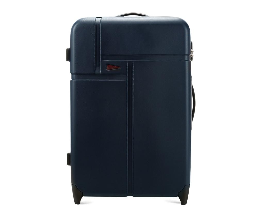 Чемодан на колесиках 27\\Большой чемодан марки VIP Collection. Изготовлен из высокопрочного пластика ABS. Имеет два колесика, выдвижную ручку и резиновую ручку для облегчения передвижения чемодана. Дополнительно  защита в виде кодового замка, предотвращего нежелательный доступ к Вашим вещам.  Внутри:     основное отделение  с эластичными ремнями, предохраняющими одежду от перемещения;  отделение  на молнии;  карман - сетка на молнии.<br><br>секс: унисекс<br>Цвет: синий<br>подкладка:: полиэстр<br>высота (см):: 73<br>ширина (см):: 50<br>глубина (см):: 30<br>размер:: du?a<br>объем (л):: 95<br>вес (кг):: 4