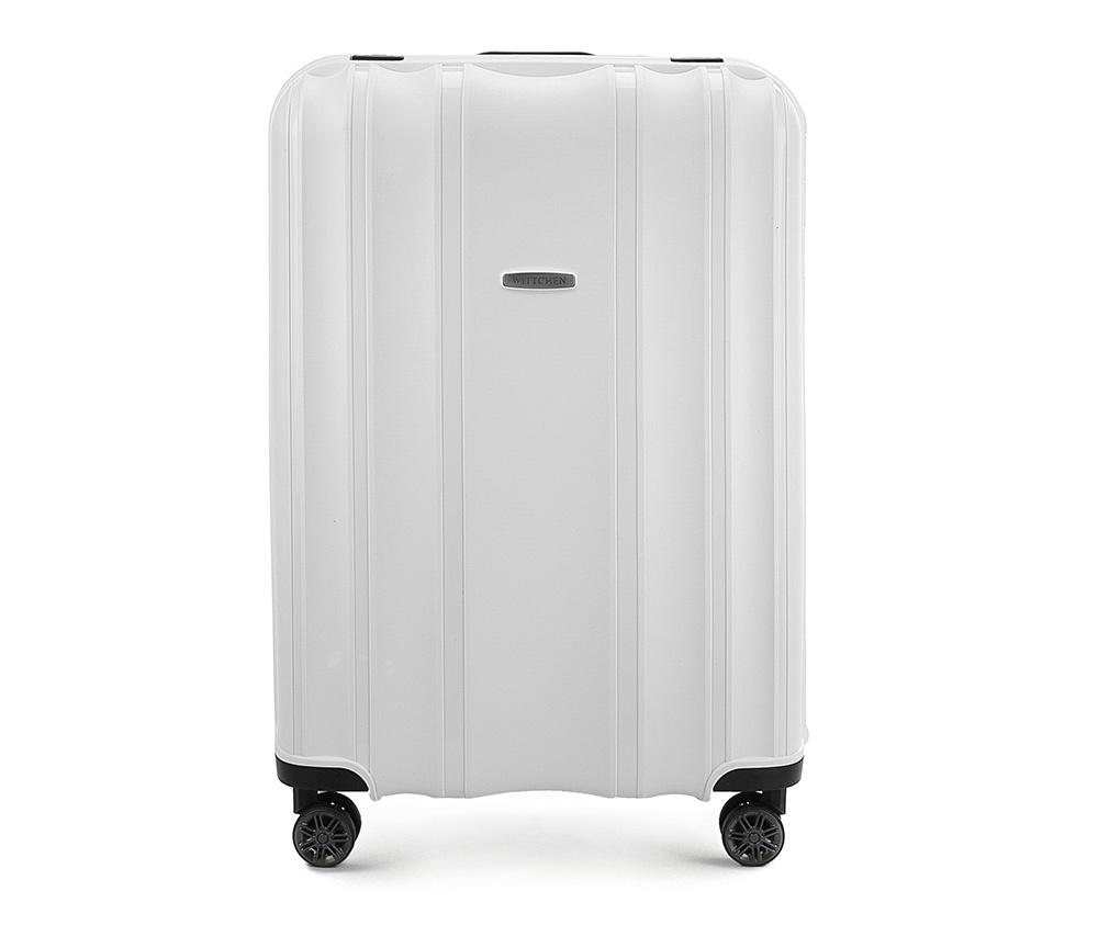 Чемодан на колёсиках 28\\Большой чемодан из коллекции Premium PP. Модель изготовлена из эластичного и ударопрочного полипропилена. Имеет четыре двойных колеса, двухступенчатую, выдвижную ручку и дополнительную ручку, облегчающие перемещение багажа. Закрывается на три пряжки главная из которых, на боковой панели чемодана, оснащена замком TSA (удобен в случае досмотра багажа таможенной службой). Внутри: основное отделение с эластичными ремнями, предохраняющими одежду от перемещения; дополнительно основное отделение оснащено перегородкой с тремя карманами, один из которых из сетки на молнии с ремнями, предохраняющими багаж от перемещения.<br><br>секс: унисекс<br>Цвет: белый<br>материал:: Полипропилен<br>высота (см):: 75<br>ширина (см):: 53<br>глубина (см):: 31<br>размер:: большой<br>объем (л):: 105<br>вес (кг):: 5,2